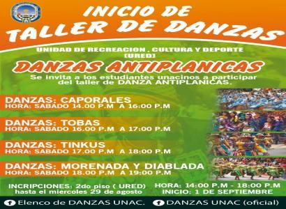 INICIO DE TALLER DE DANZAS ANTIPLANICAS